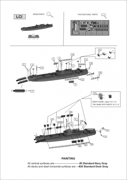 Niko 7033 WWII US Loading Craft LCT, LCI, 2xLCM